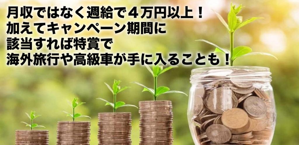 月収ではなく週で5~20万円! 加えてキャンペーン期間が該当すれば特賞で 海外旅行や高級車が手に入ることも!
